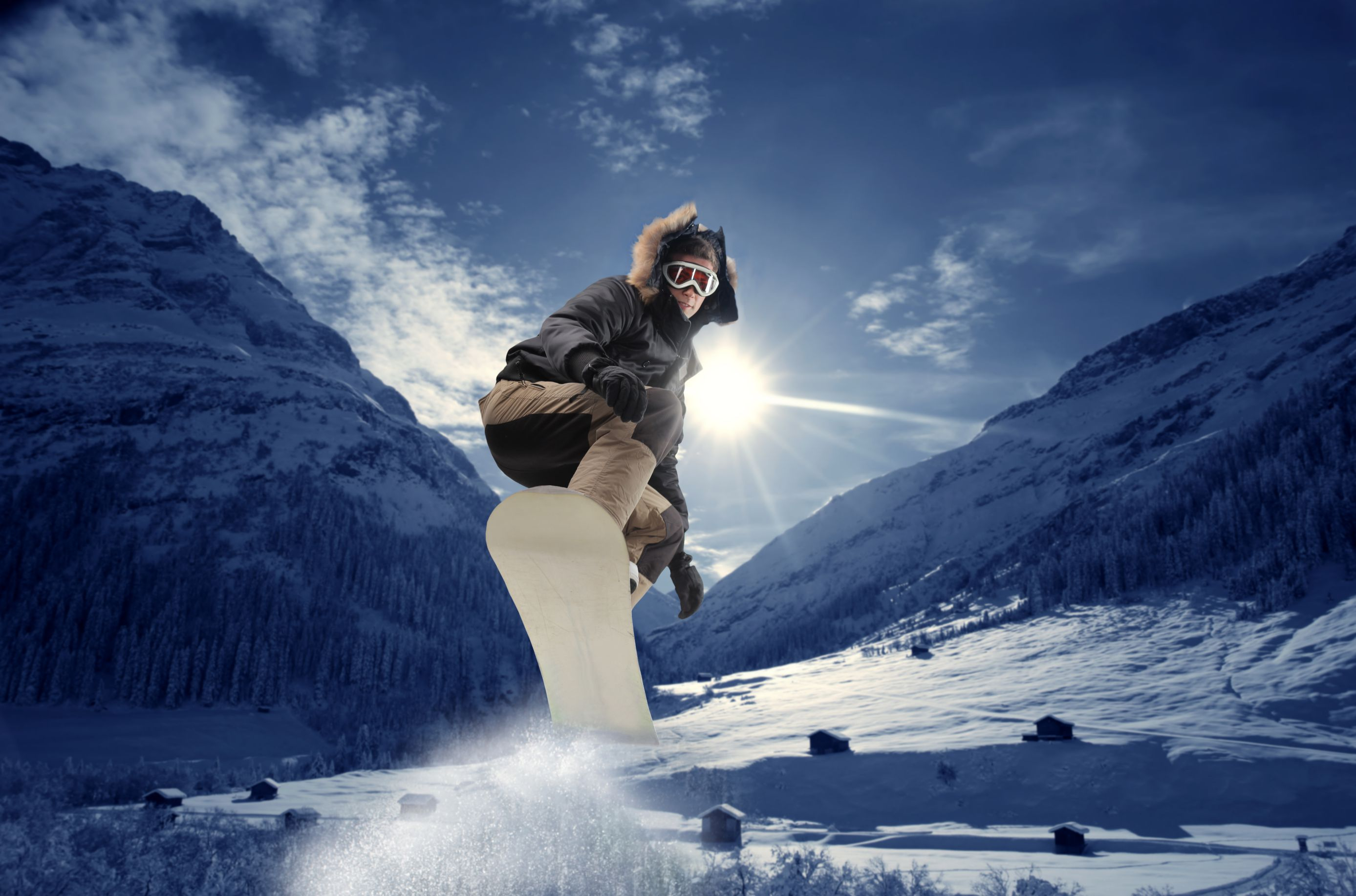 Man on snowboard at the mountain
