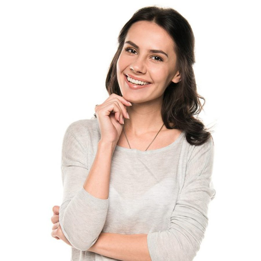 The young woman smiling